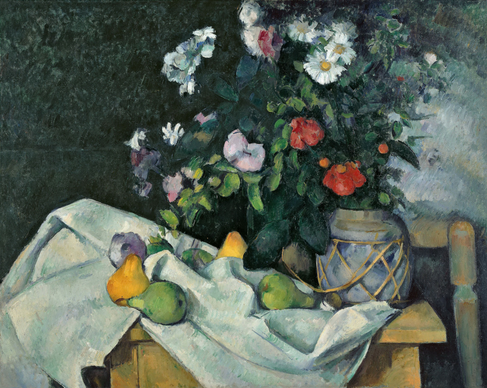 Paul Cezanne. Still life with flowers and fruit