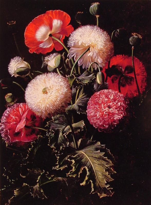 Йохан Лоренц Дженсен. Натюрморт с белыми и розовыми маками