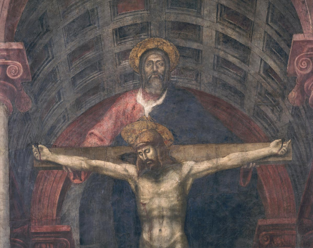 Tommaso Masaccio. The Holy Trinity. Fragment. Christ and God the Father