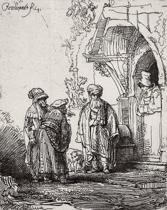 Рембрандт Ван Рейн. Три человека в восточных одеждах