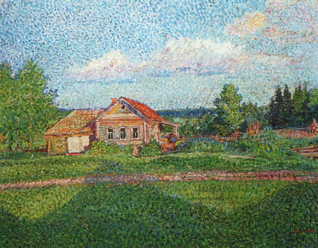 Давид Давидович Бурлюк. Пейзаж с домом