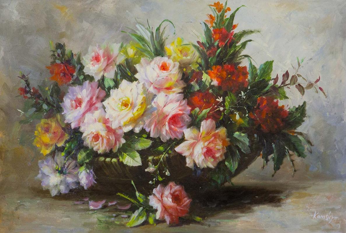 Савелий Камский. Букет роз с веткой айвы N2