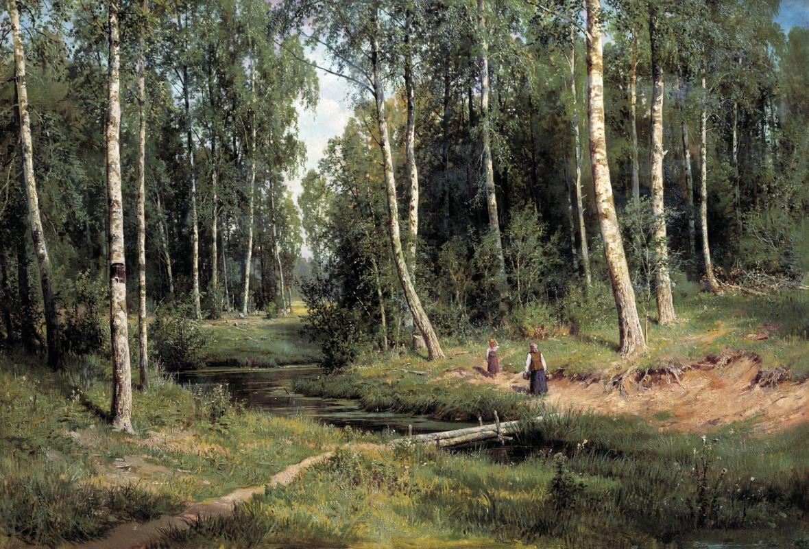 Ivan Ivanovich Shishkin. Stream in the birch forest
