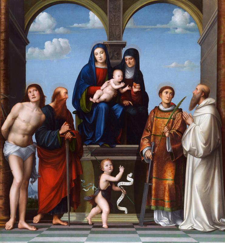 Дева с младенцем и Святой Анной и другми святыми