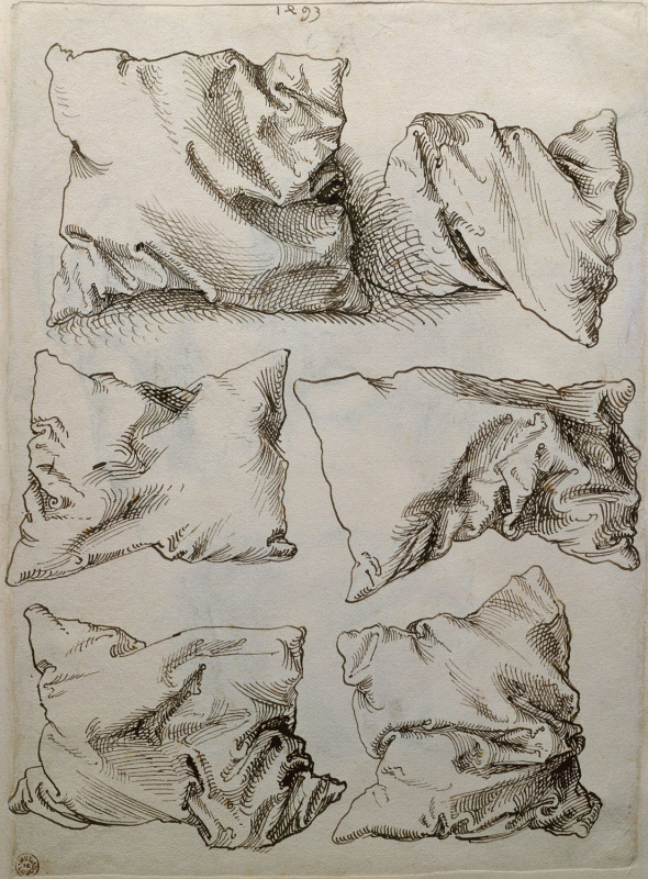 """Albrecht Durer. Six studies of pillows (flip side of """"self-Portrait with hand sketches and pillows"""")"""