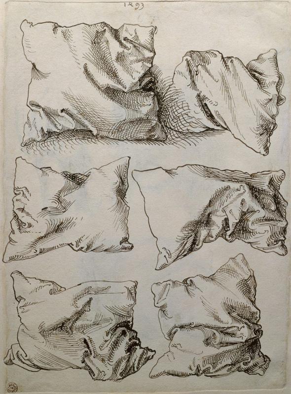 "Albrecht Dürer. Six studies of pillows (flip side of ""self-Portrait with hand sketches and pillows"")"