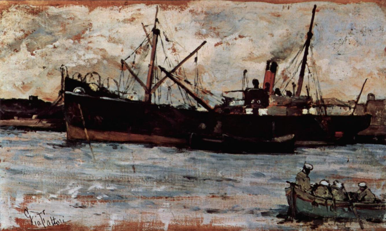 Giovanni Fattori. The ships in the Harbor