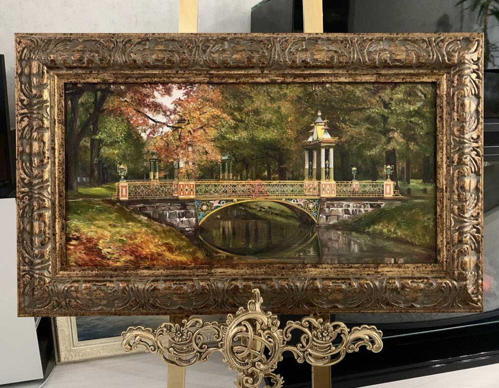 "Anna Telegin. Bridge in the ""Chinese"" part of the Alexander Park in Pushkin🎨 canvas / oil 30x60 + frame"