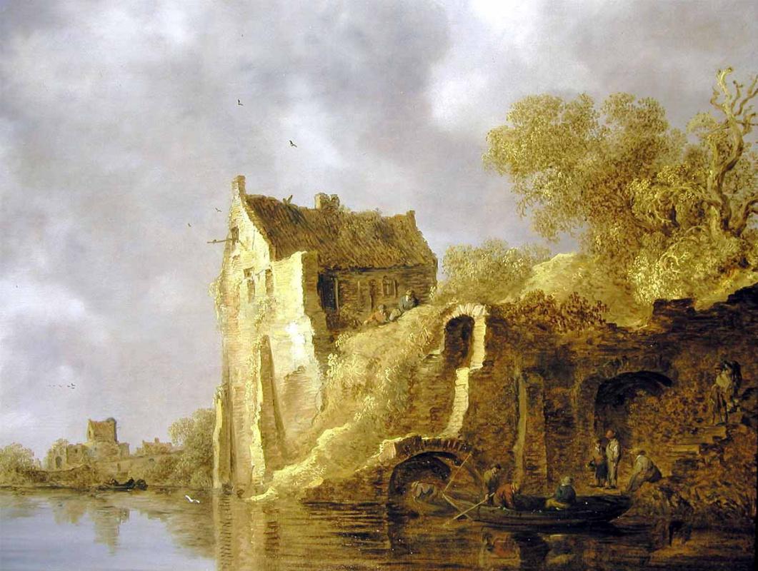 Jan van Goyen. River landscape with dilapidated building