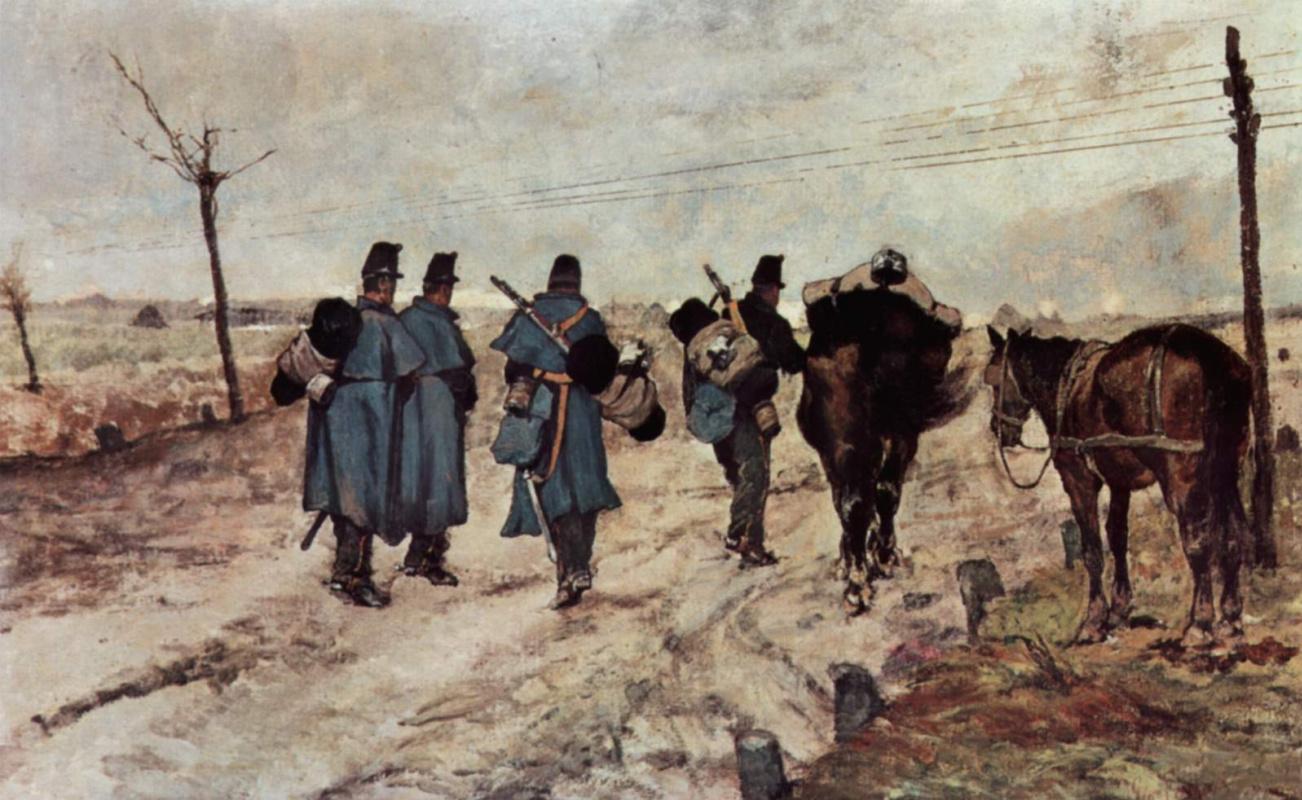Giovanni Fattori. Marching soldiers