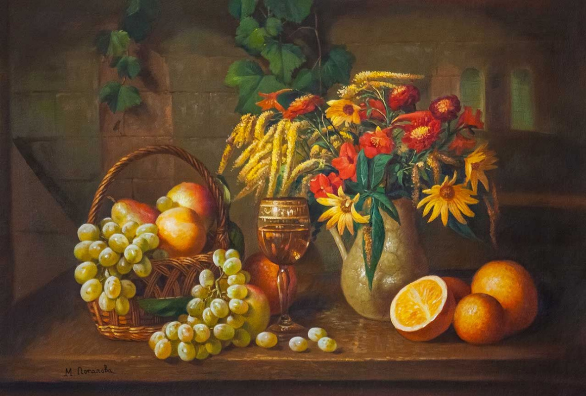 Maria Potapova. Still life with autumn flowers, grapes and oranges