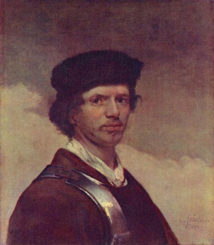 Карел Фабрициус. Автопортрет в меховой шапке и кирасе