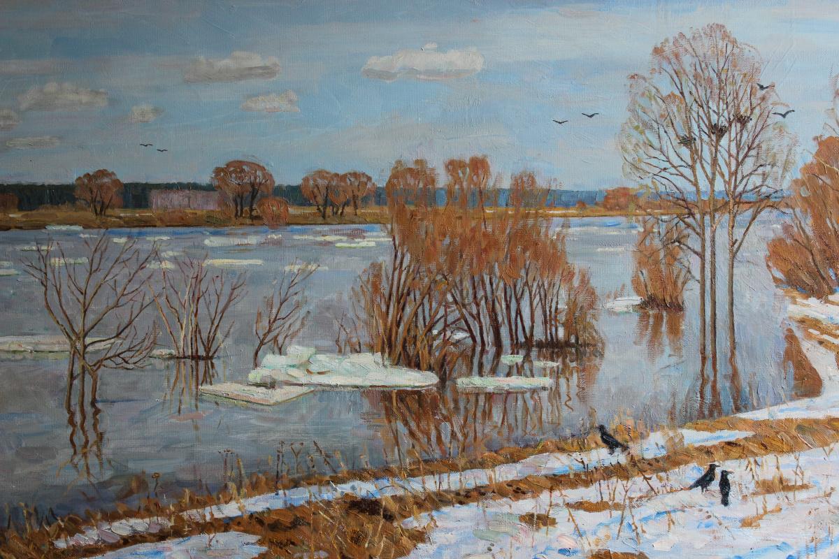 Eugene Alexandrovich Kazantsev. The light of spring. Ice drift on the Oka.