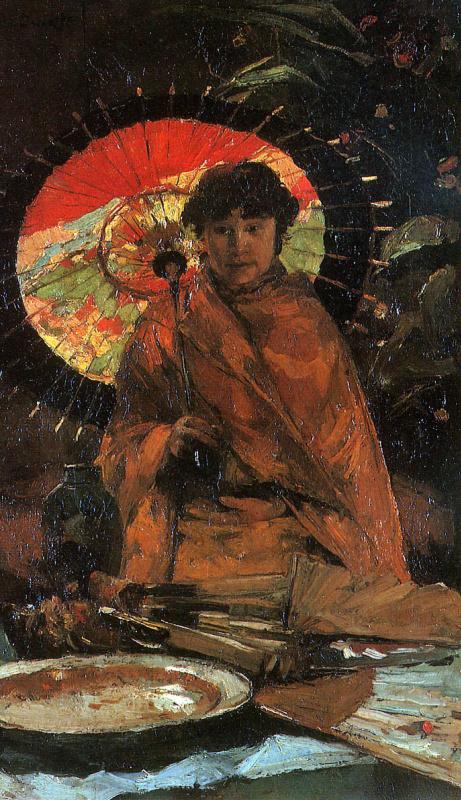 Виллем де Зварт. Девушка с японским зонтиком