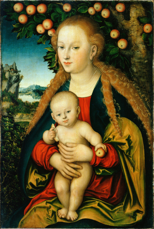 Лукас Кранах Старший. Мадонна с младенцем под яблоней