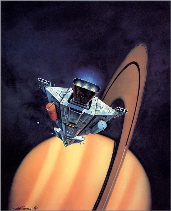 Алекс Шомбург. Корабль рядом с гигантским Сатурном