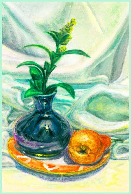 Nikolay Ernestovich Grebennikov. Still Life with Spirea Flower and Pear