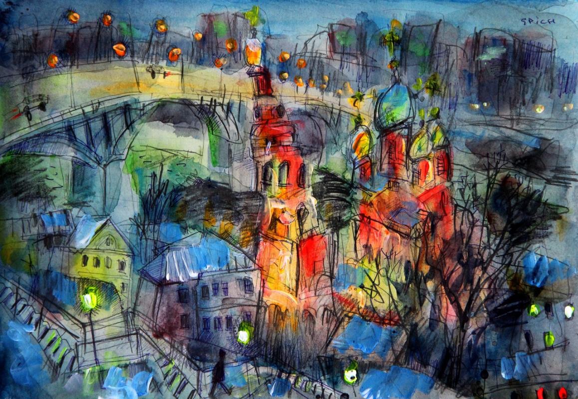 Ilya Pavlovich Spichenkov. Night. View from the Fedorovsky Embankment