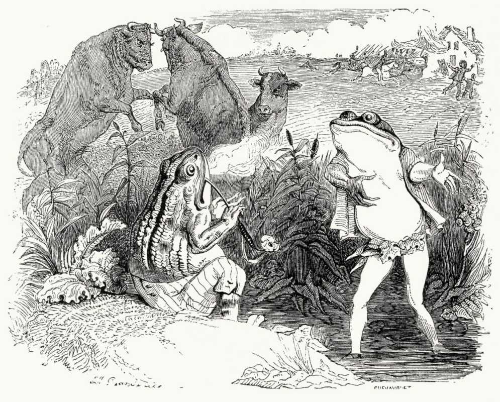 Jean Inias Isidore (Gerard) Granville. Two Bulls and a Frog. Illustrations to the fables of Jean de Lafontaine