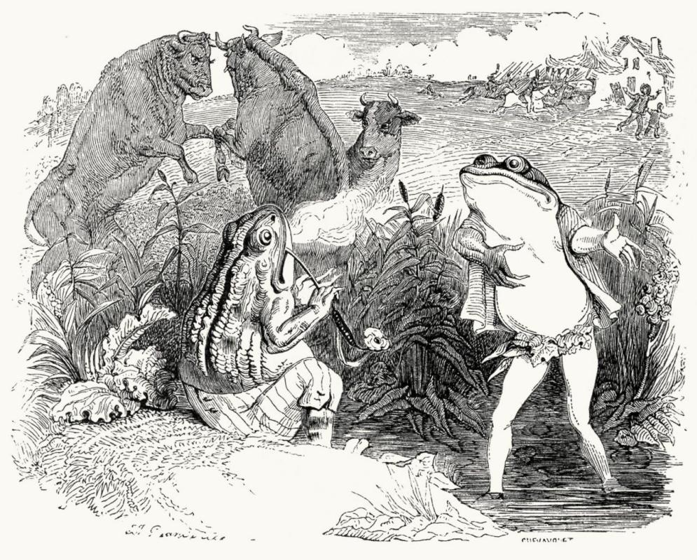 Жан Иньяс Изидор (Жерар) Гранвиль. Два Быка и Лягушка. Иллюстрации к басням Жана де Лафонтена