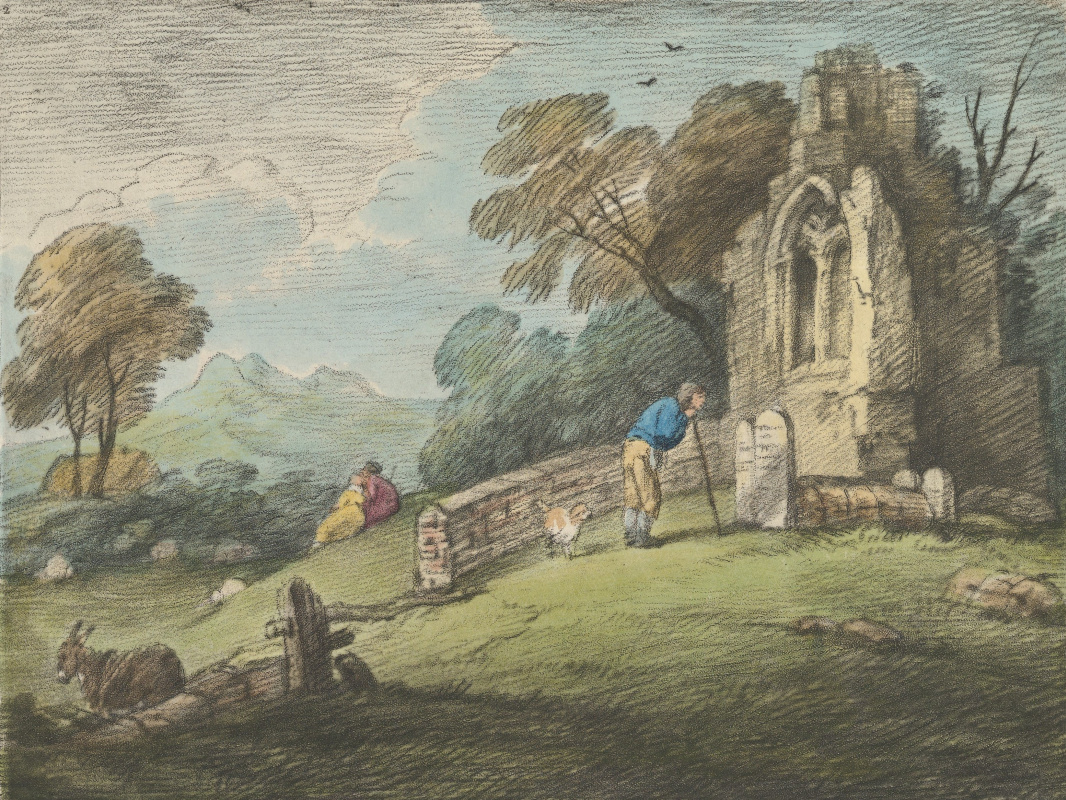 Thomas Gainsborough. Landscape with a peasant at a headstone and a ruined Church