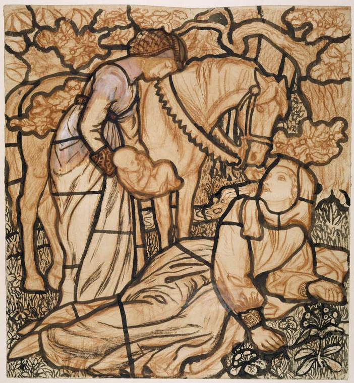 Arthur Hughes. The birth of Tristram. Sketch of a stained glass window