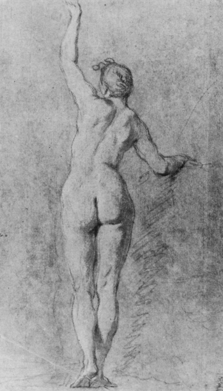 Ноэль-Никола Куапель. Натурщица с поднятой рукой со спины