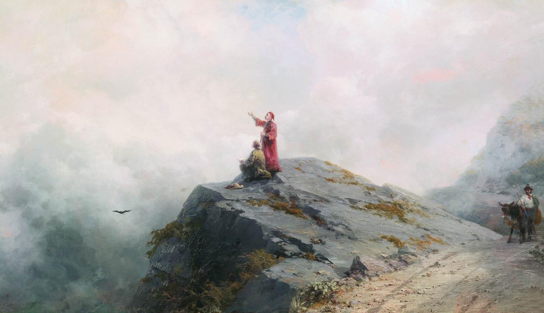 Иван Константинович Айвазовский. Данте указывает художнику на необыкновенные облака