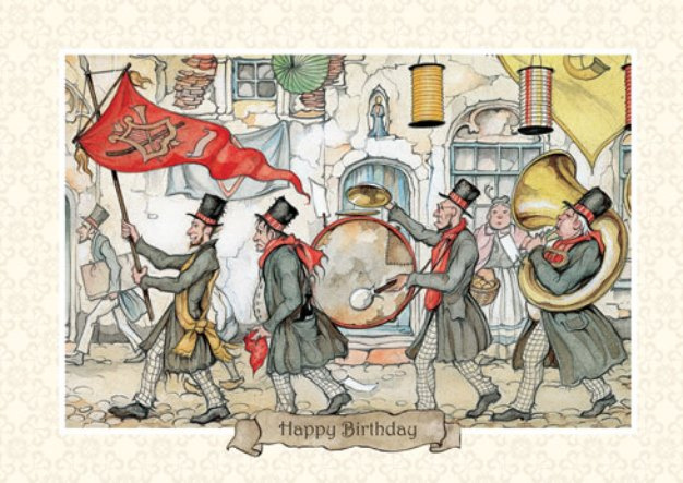 Anton Pieck. Design greetings happy Birthday. Orchestra