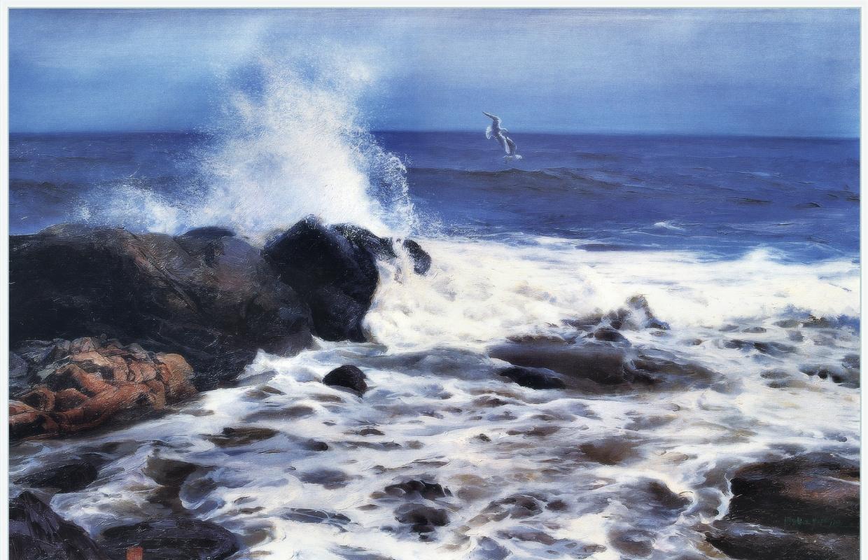 Ю. Пуджиес. Волны, разбивающиеся о камни