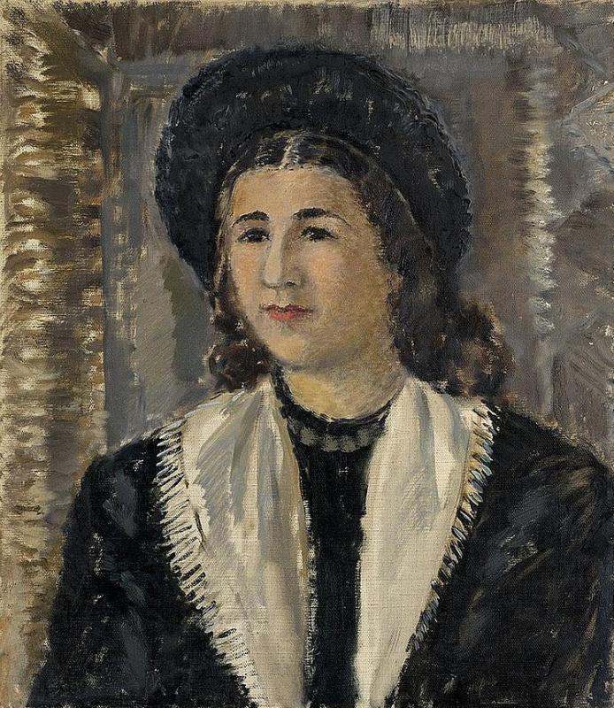 Антонина Федоровна Софронова. Портрет женщины в черной шляпе