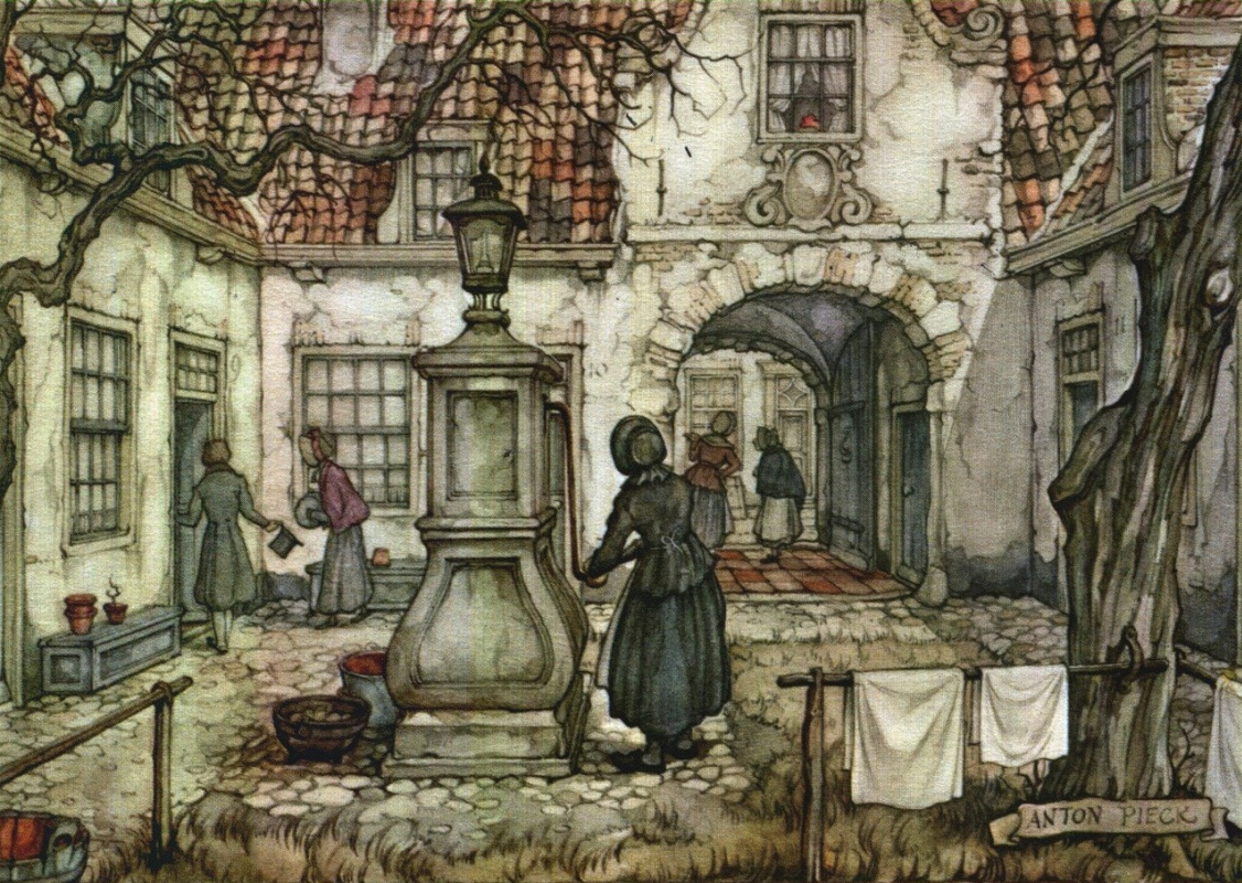 Anton Pieck. In the yard