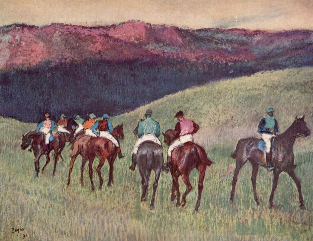 Эдгар Дега. Проездка скаковых лошадей