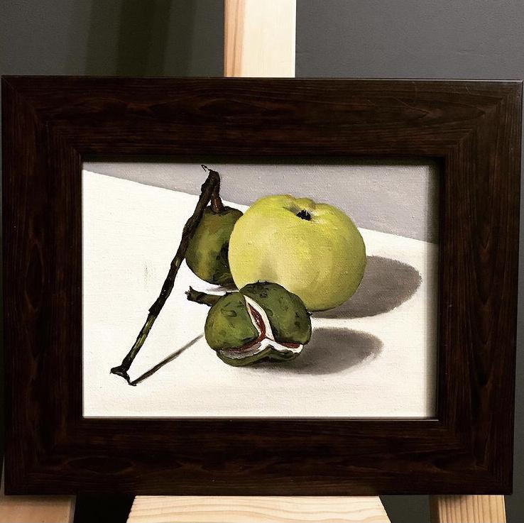 "Anna Alykshina. Miniature ""Chestnuts and an apple"" 20x25 oil, canvas; 25,000 rubles"
