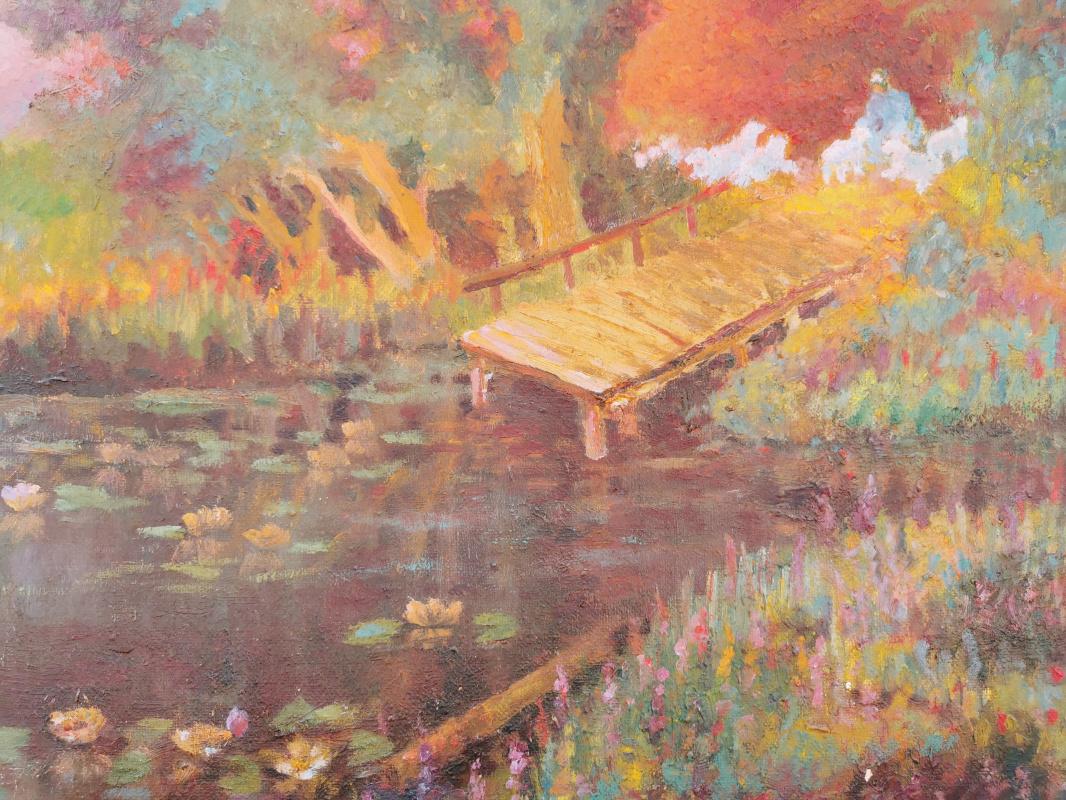 Andrey Spiridonov. Sunset on the pond
