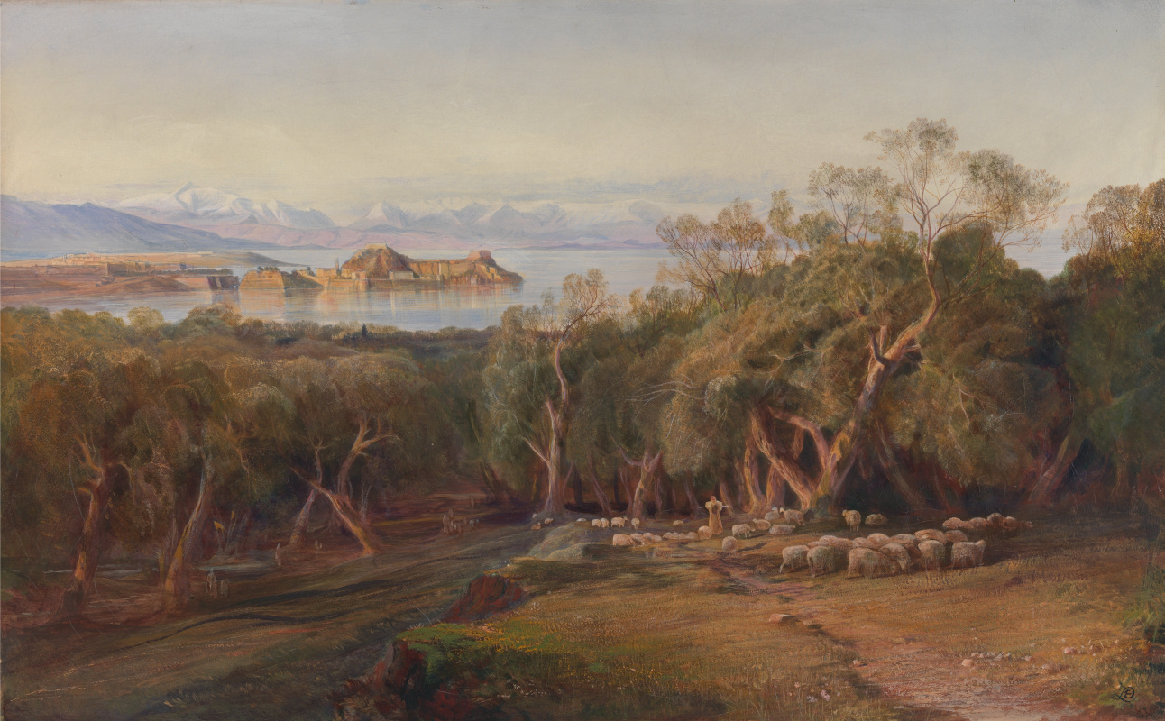Edward Lear. High view of Corfu