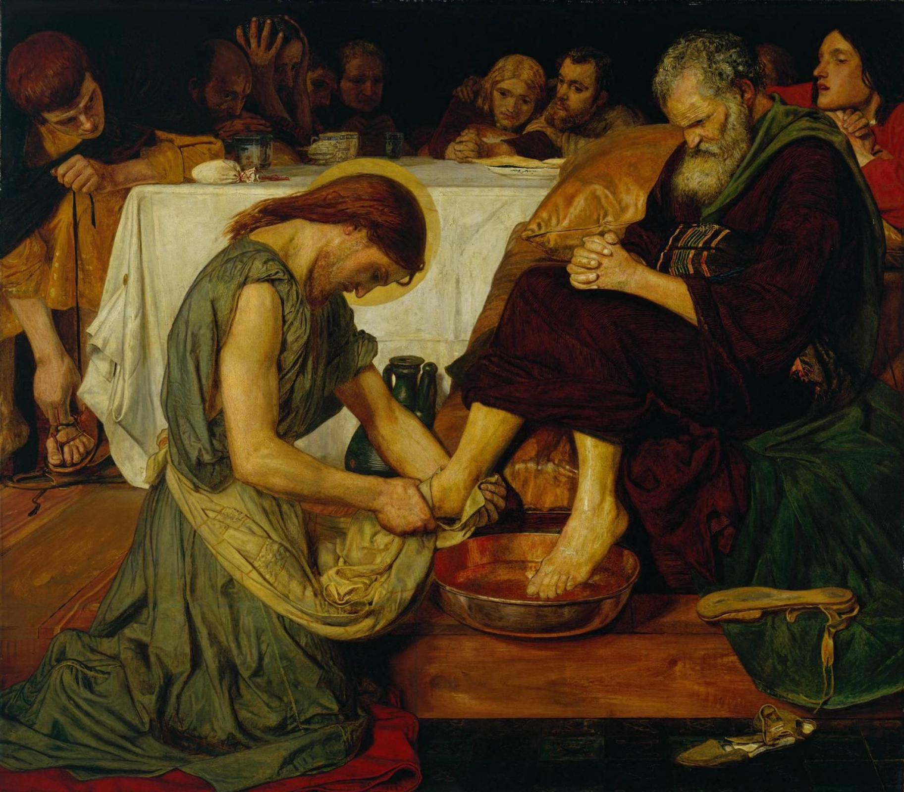 Ford Madox Brown. Jesus washes the feet of Peter
