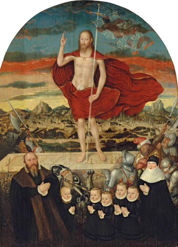 Лукас Кранах Младший 1515-1586. Воскресение Христово с семейным портретом донатора. 1573-1574