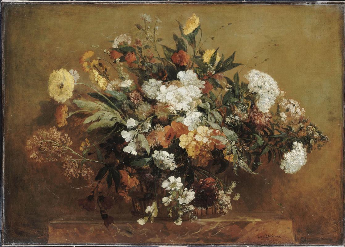 Eugene Delacroix. Basket of flowers