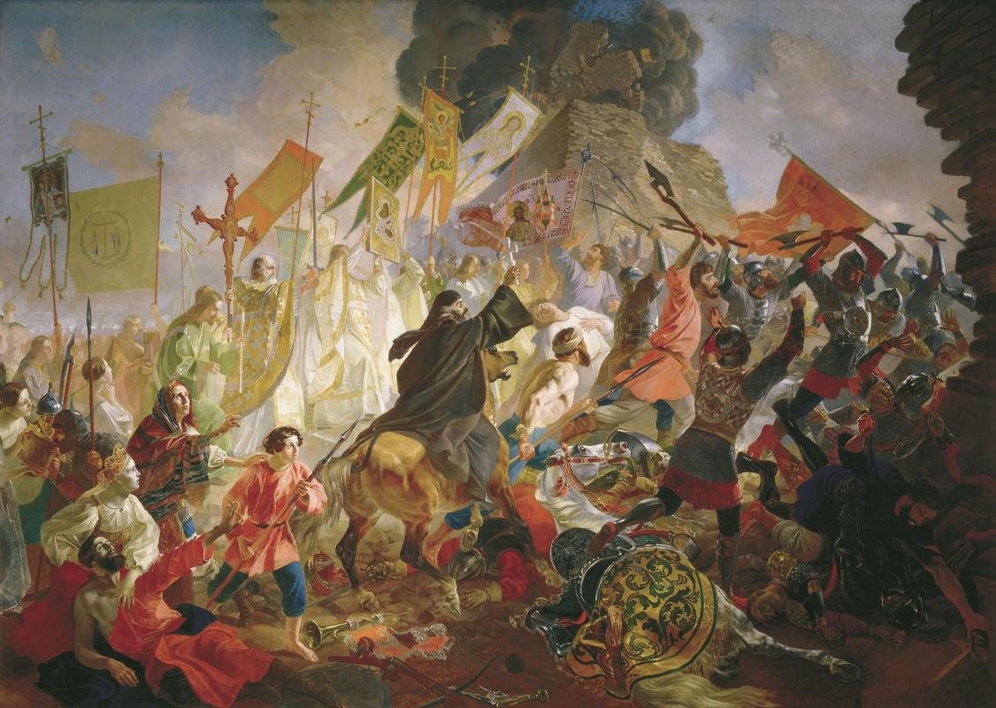 Karl Pavlovich Bryullov. The siege of Pskov by Polish king Stefan Batory in 1581