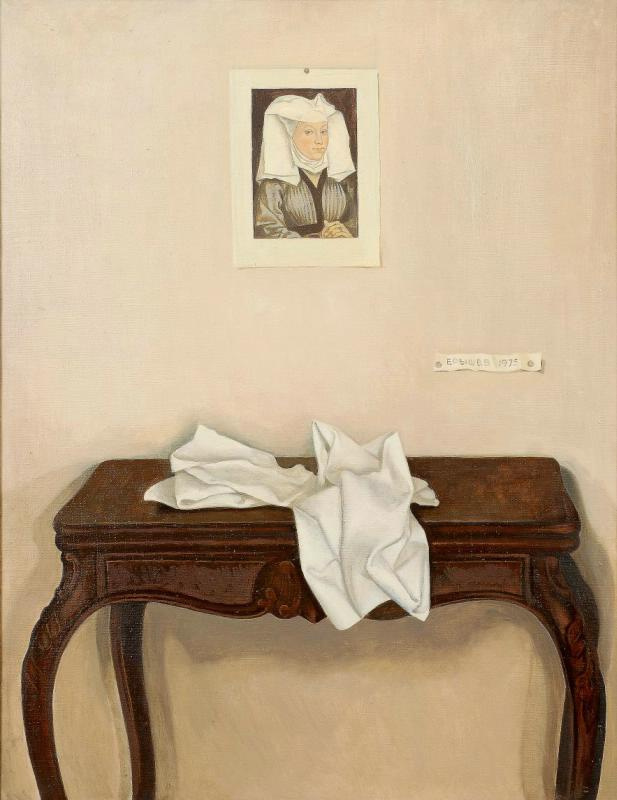 Николай Павлович Ерышев. Still Life with Reproduction and White Cloth