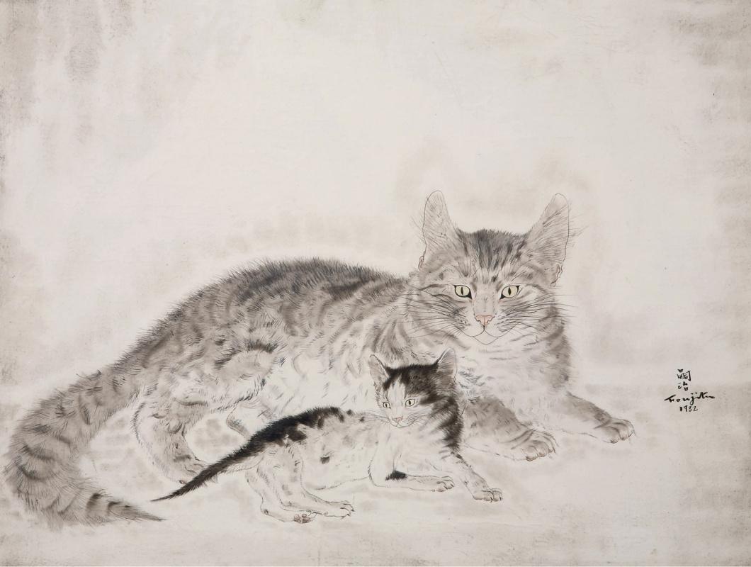 Цугухару Фудзита ( Леонар Фужита ). Chatte et chaton