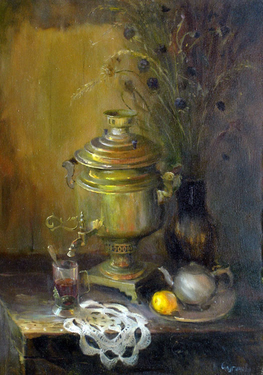 Natalia Sluginova. Still life with samovar