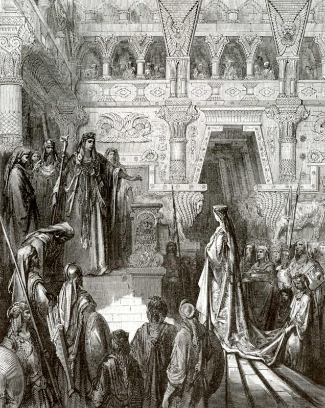 Поль Гюстав Доре. Иллюстрация к Библии: Соломон принимает царицу Савскую