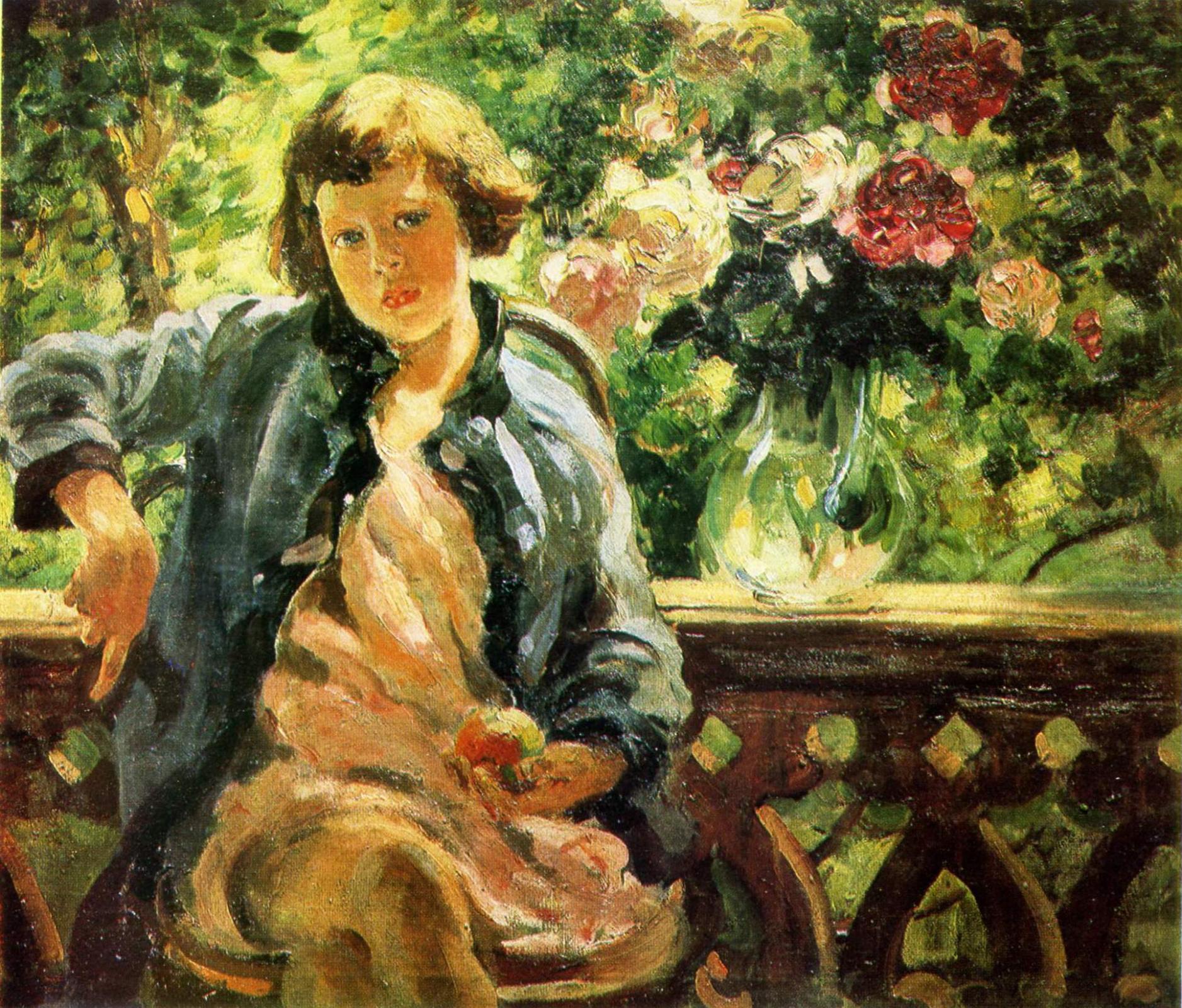 Александр Михайлович Герасимов. Девочка с яблоком . 1928