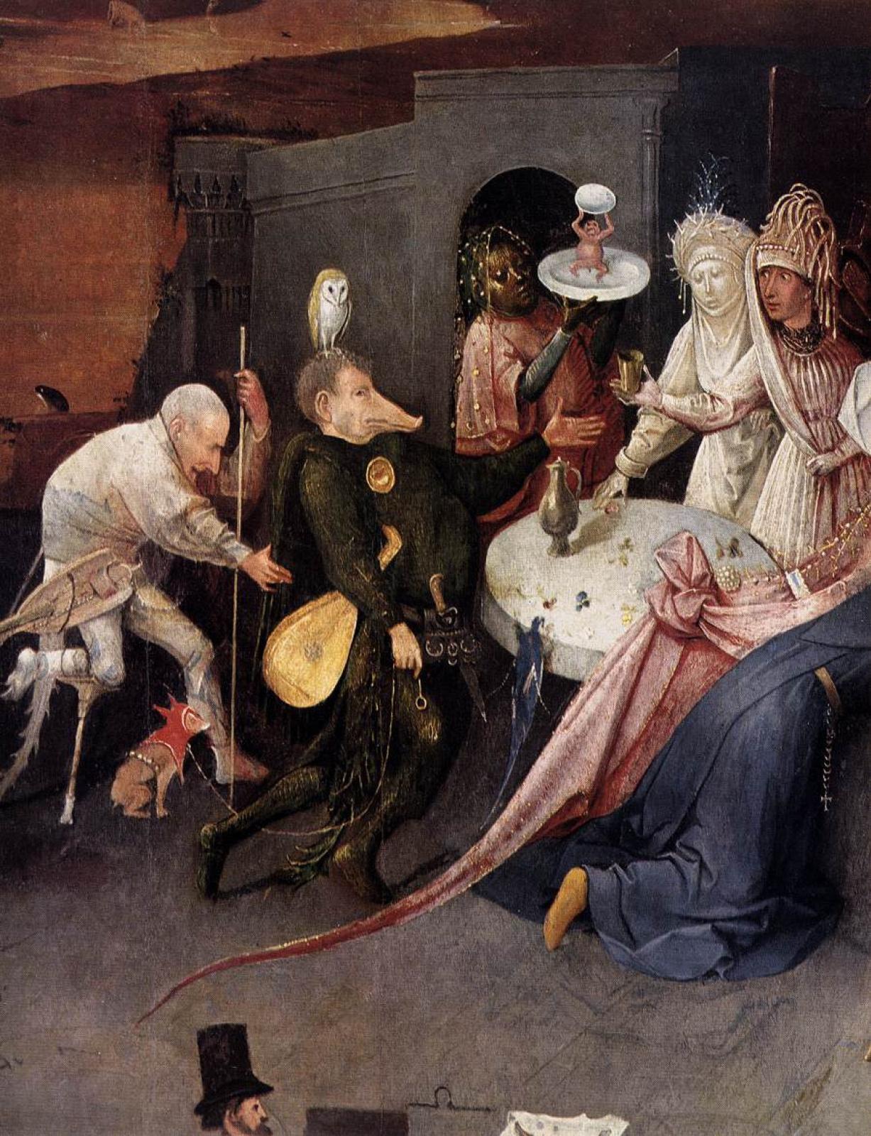 Иероним Босх. Искушение Святого Антония. Центральная часть триптиха. Фрагмент