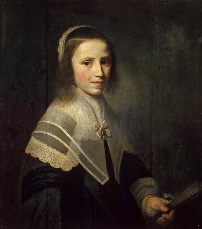 Hendrik Cornelis van Vliet. Portrait of a girl with a fan