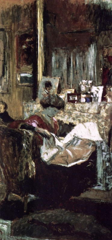 Jean Edouard Vuillard. Madame Hessel with a newspaper by the fireplace