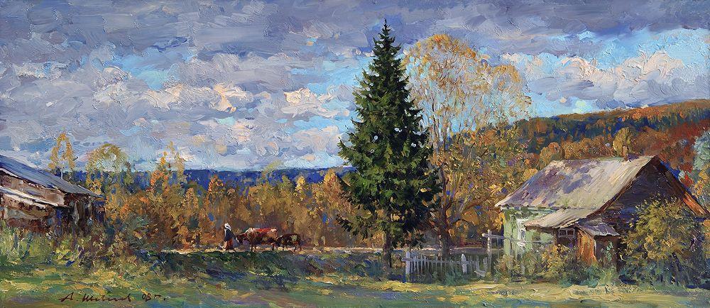 Alexander Shevelyov. Landscape with tree.Oil on canvas 27 x 61,5 61,5 cm 2008 cm 2008