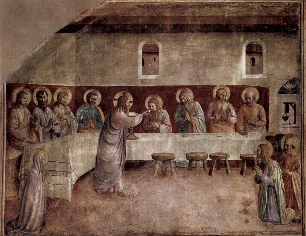 Фра Беато Анджелико. Цикл фресок доминиканского монастыря Сан Марко во Флоренции, сцена: Причастие апостолов, Тайная вечеря